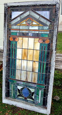 Antique 1924 Arts & Crafts Stained Glass Window, Architectural Salvage