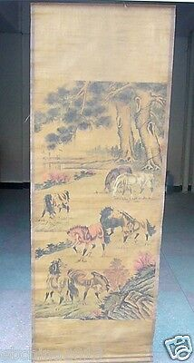 Chinese Ancient Folk Original Art Ink horse a scroll painting