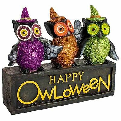 Happy Owloween Ornament Three Owl Block Halloween Decoration Novelty Costumes