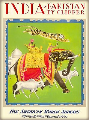 India & Pakistan by Clipper Airline Vintage Travel Art Advertisement Poster