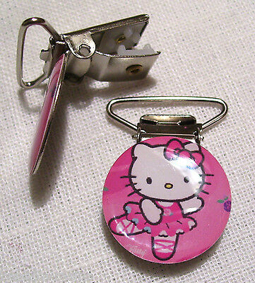 C03 - Clip Pince Bretelle, Crocodile, Attache Tétine - Chat Kitty Danseuse Rose