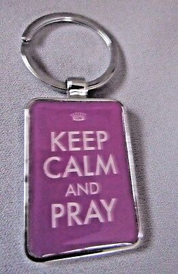 Keep Calm And Pray Purple And White Enamel Verse On Reverse Phil 4:6 Key Chain