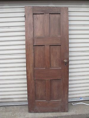Antique Arts Crafts Victorian 6 Panel Oak Door Eastlake Doorknobs 30 5/16X771/8""
