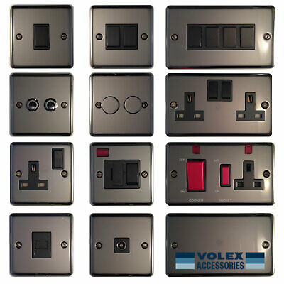 Volex Polished Black Nickel Light Switches and Electrical Sockets Black Insert