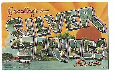 Large Letter Linnen Greeting, SILVER SPRINGS, FL, cpy 1942
