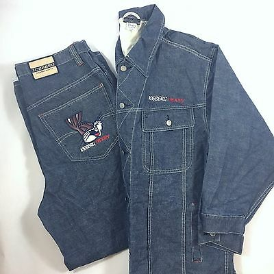 Iceberg History Denim Outfit Looney Toons Bugs Bunny Jean Jacket/pants Xl/36