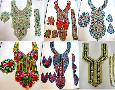 Indian Lace Embroidered Neckline Neck Collar Trim Clothes Sewing Applique