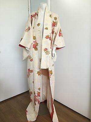 Authentic Japanese Kimono Woman Autumn leaves Froral print Silk jacket Long gown