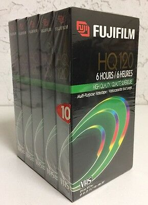 5 New Sealed Fujifilm HQ 120 Multi Purpose Blank VHS Video Cassette Tapes