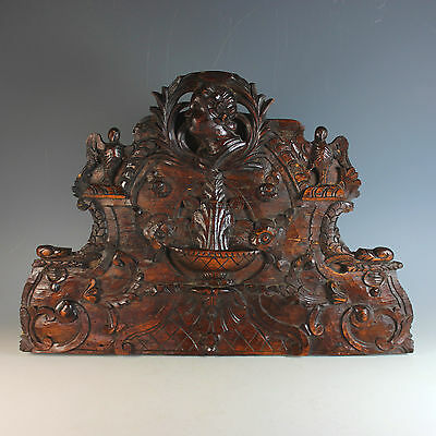 18th c French Hand Carved Hardwood Overdoor Pediment