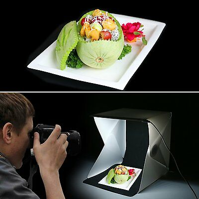 "Mini Photo Studio Photography Tent Kit 9"" Backdrop Cube Box SofeBox Light Room"