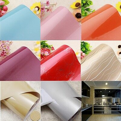 Gloss Self Adhesive Oil Proof Kitchen PVC Shelf Liner Contact Paper Wallpaper