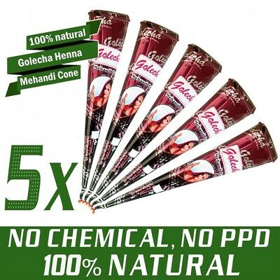 5x Golecha 100% Natural Henna Paste Cones Kegel (Rot-Braun) No Mix, No PPD, 125g