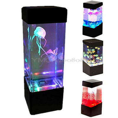 Romantic Jelly Fish Tank Color Changing Water Lamp Bedroom Mood LED Night Light