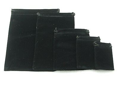 lot of 10 25 50 100 Black Velvet Gift Bags Jewelry Pouches Party Wedding Favors