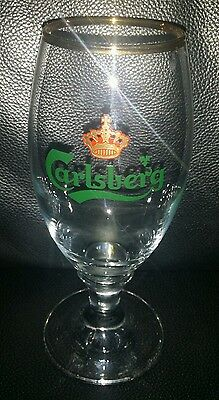 Rare Collectable Carlsberg Tulip Style Beer Glass Brand New Never Used With Chip