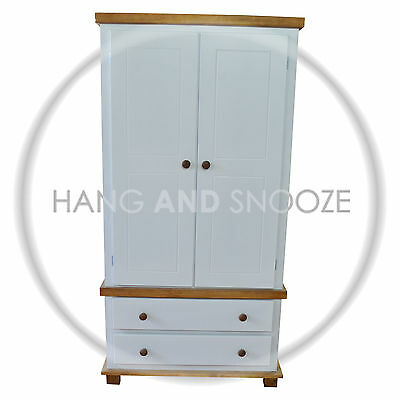 Handmade Florida Country 2 Drawer Wardrobe  White (Assembled)
