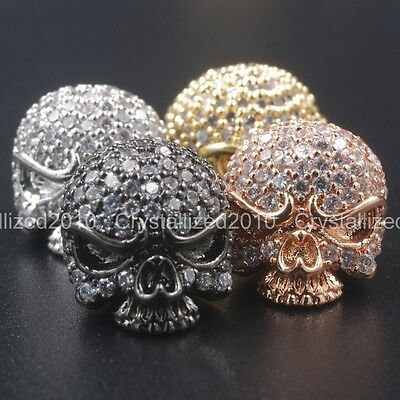 Cubic Zirconia Pave Solid Round Drilled Skull Bracelet Connector Charm Beads