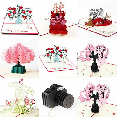 New Birthday Anniversary Wedding Pop Up Cards 3D Flowers Greeting Cards