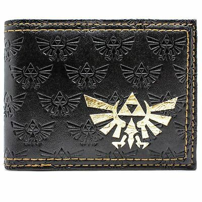 New Official Nintendo Legend Of Zelda Triforce Black Coin & Card Bi-Fold Wallet