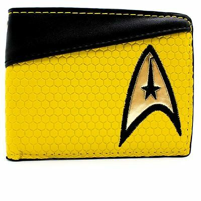 New Official Cbs Star Trek Enterprise Command Yellow Coin & Card Bi-Fold Wallet