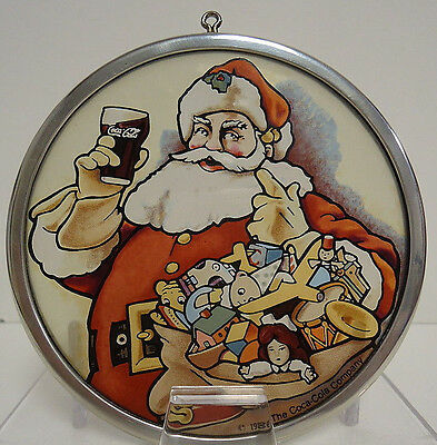 Glassmasters Vintage 1987 NOS Coke Coca Cola Santa Art Glass Christmas Ornament