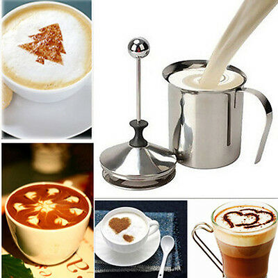 400ml Stainless Steel Milk Frother Double Mesh Coffee Cappuccino Foamer Creamer