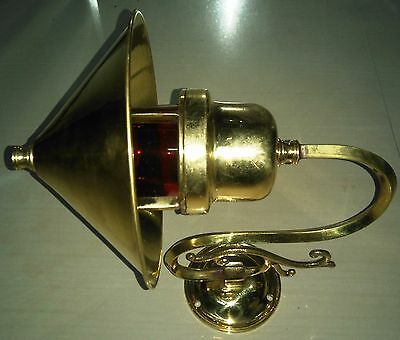 Marine Brass Ship Bulkhead Light With Deflector Cover Set Of 1 Collectible Edh