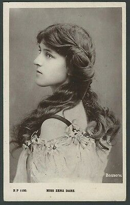 Zena Dare Stage Actress 1908 Rival Real Photo Postcard