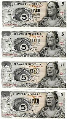 BN20 Lot of 4 Banknotes from Mexico  $ 5.00 Cinco Pesos, uncirculated