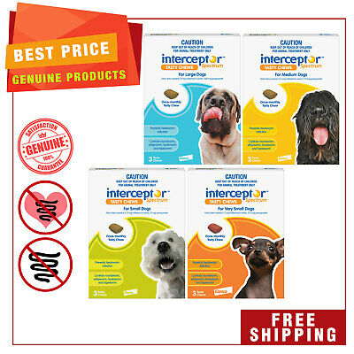Interceptor Spectrum all sizes for Dogs by Novartis 3 chews Heartworm treatment