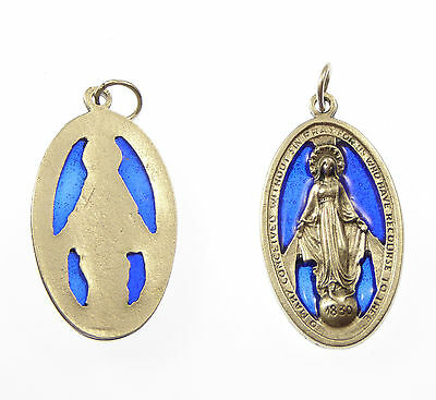 Catholic silver metal Virgin Mary Miraculous medal blue stained glass medal big