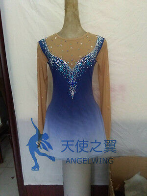 blue dress for figure skating dresses women competition skating clothing custom