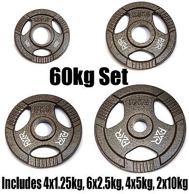 """FXR SPORTS 60kg SET OF 2"""" HOLE TRI GRIP IRON OLYMPIC WEIGHT DISC PLATES"""