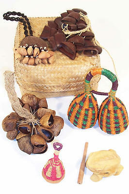 Mixed Basket of Natural Rattles with Wooden Frog