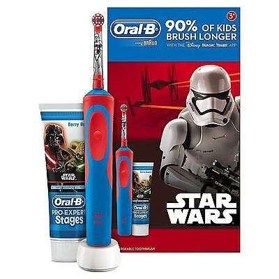 Oral-B Star Wars Stages Power Kids Boy/Girl Electric Toothbrush +Toothpaste Gift