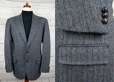 Vtg 2 Button Grey Herringbone Harris Tweed Jacket Window Pane Check -44- DF12
