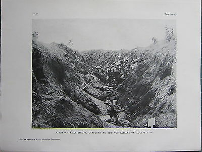 1918 Wwi Ww1 Print ~ Trench Near Lihons Captured By Australians August 10Th