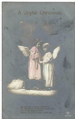Christmas - Two Little Angel Girls Old Postcard