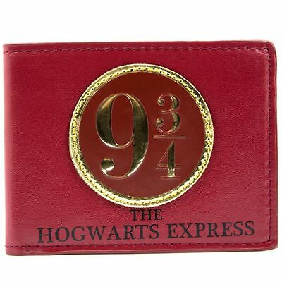 New Official Stunning Harry Potter 9 3/4 Hogwarts Express Red Gold Bifold Wallet