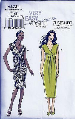 Vogue 8724 Sewing Pattern Very Easy Misses' Dress - 14, 16, 18, 20
