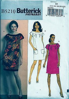 Butterick 5210 Sewing Pattern Fast & Easy Misses' Dress - 14, 16, 18, 20, 22