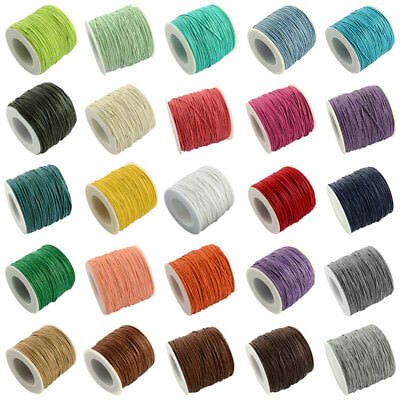 100yds/Roll Waxed Cotton Threads Round Beading Cords Strings Spool Tiny 1mm DIA