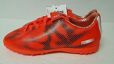 Adidas F10 Jr.  Indoor Soccer Shoes Solar Red/White /Black B39946 Size 2Y