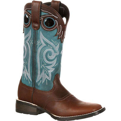 DRD0135 Durango Mustang Women's Pull-On Western Saddle Boot Brown/Teal NEW