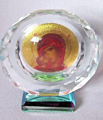 Beautiful Crystal Madonna Mother Of Jesus & Infant Baby Jesus Stand