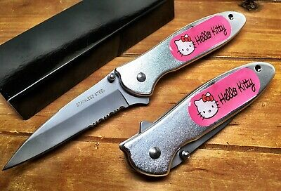 Hello kitty Spring assisted Tactical Pocket Knife With Clip Custom Made.