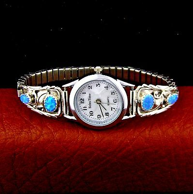 Native American Made Sterling Silver Blue Opal Ladies Watch --- W3