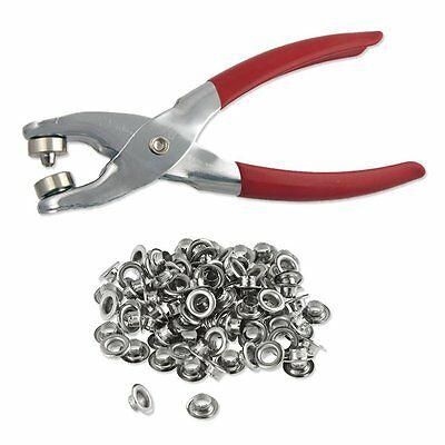 "1/4"" Grommet Eyelet Setting Pliers with 100 Silver Grommets New"