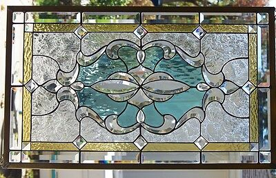 """Stained Glass window hanging 31 X 19"""" Polished Brass Frame"""